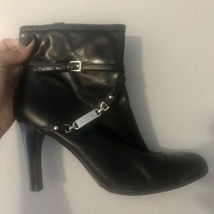 Ralph Lauren Ankle-Heeled Leather Booties